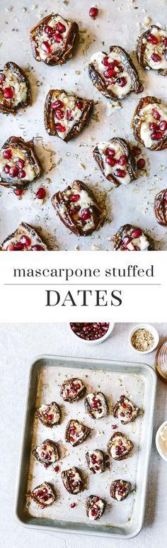 Warm Mascarpone Stuffed Dates with Pomegranate and Honey