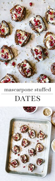 Warm Mascarpone Stuffed Dates with Pomegranate and Honey