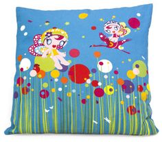 Flowers Fairies Cushion This colourful and vibrant fairy cushion is a wonderful and bright addition to any child's room. It's a great bed decoration in the day, and a comfortable cushion at night! http://www.coolkidsrooms.co.uk/#!product/prd1/933967304/flowers-fairies-cushion