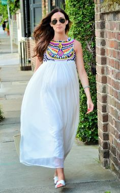 embroidered maxi dress @sheinsider #pregnancystyle #stylethebump #maternitystyle