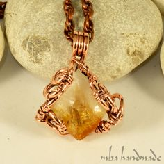 NATURAL CITRINE CRYSTAL POINT NECKLACE ANTIQUED COPPER WIRE WRAPPED RAW GEMSTONE #MbaHandmade #Wrap