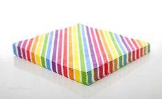 10 Bunte Regenbogen-Streifen Servietten