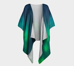 Kimono origami chat, Draped Kimono by Mes amis imaginaires. Printed artwork Draped Kimono, available in silky knit and transparent chiffon fabric Cardigan Fashion, Kimono Cardigan, Kimono Top, Sheer Chiffon, Chiffon Fabric, Girly Girl, Color Splash, Dress Up, Fashion Outfits