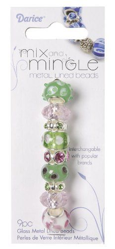 Darice Mix and Mingle Glass Lined Metal Beads Green and Pink