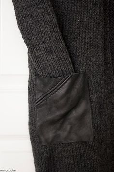 Knitted cardigan with repurposed leather pocket detail - sewing inspiration; fashion design // Emmy Caroline
