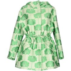 P.a.r.o.s.h. Overcoat (2,185 SAR) ❤ liked on Polyvore featuring outerwear, coats, green, floral print coats, single-breasted trench coats, jacquard coat, green turtleneck and green coat