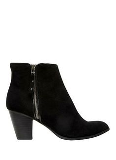 Black suede ankle boot with mid height heel and zip on both sides. Leather upper and lining with resin sole.