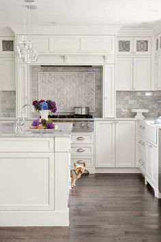 White Kitchen grayish floor