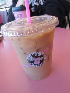 Nothing beats ice coffee with a pink straw!