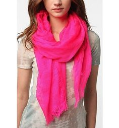 neon pink woven scarf