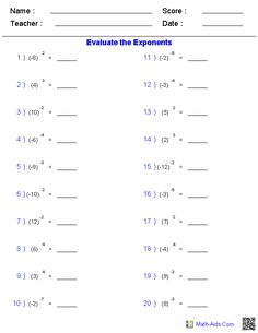 Integers with Simple Exponent Worksheets Maths Algebra, Math Tutor, Free Math Worksheets, Math Resources, Ged Math, Math Practices, Math Notebooks, Basic Math, Math Facts