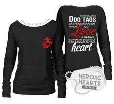 Heroic Hearts Apparel - Shadow of Their Dog Tags USMC Top, $6.00 (http://www.heroicheartsapparel.com/shadow-of-their-dog-tags-usmc-top/)  usmc wife marine corps marines semper fi girlfriend