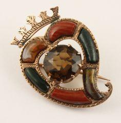 Superb Antique Victorian 1888 Scottish agate citrine Luckenbooth brooch pin