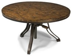 This cocktail table exhibits Industrial Revolution attitude with a three-leg and threaded post base, complete with an adjustable table height feature. Description from michaelalanaz.com. I searched for this on bing.com/images
