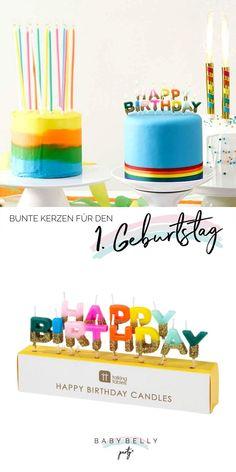 """Happy Birthday to you! Dekorieren Sie die Geburtstagstorte mit diesen """"Happy Birthday""""-Buchstaben-Kerzen in fröhlich bunten Farben und goldenem Glitter! Die einzelnen Kerzen in Pink, Orange, Gelb, Blau und vielen weiteren Farben, sind in der unteren Hälfte mit funkelndem Glitzer in Gold versehen. Sie sind jeweils an kleinen Plastikstäben angebracht, die in weiches Material gesteckt werden können. Die Buchstaben-Kerzen sind ca. 1,5 cm breit und mit Stäbchen ca. 5 cm hoch. Bunt, Birthday Cake, Desserts, Material, Orange, Food, Theme Ideas, Birthday Cake Toppers, Decorating"""