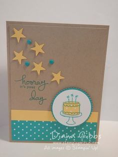 handmade card: Endless Birthday Wishes by Kimberly Van Diepen  .... kraft base combined with bright yellow and aqua ... luv the spray of punched stars and enamel dots ... like how aqu ink IS used on the kraft background as well as for the cake outline on the white  circle medallion ... Stampin'Up!