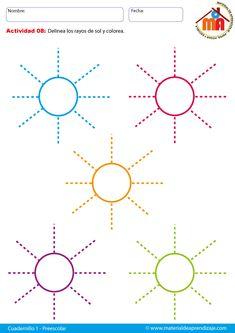 Cuadernillo preescolar 1 de pre-escritura para niños entre 3, 4 y 5 años. Se recomienda seguir el orden de todas las fichas para obtener un desarrollo óptimo en las destrezas de motricidad fina.Material de aprestamiento y preescritura para trabajar en educación infantil de 3 a 5 años.Las actividades de aprestamiento tienen como objetivo estimular, incrementar
