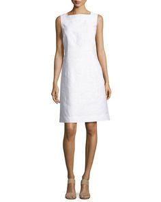 Lafayette 148 New York Plus Size Jojo Sleeveless Fragmented Jacquard Dress, White Jacquard Dress, Wool Dress, Belted Dress, Plus Size Dresses, Dresses For Work, Top Luxury Brands, Latest Fashion Dresses, Embroidered Tunic, Lafayette 148