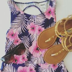 Floral Victoria's Secret PINK dress Like-new condition Skater style dress perfect for summer with a paor of sandles and some sunglasses Has a keyhole cut out in the back as seen in the last picture Falls about halfway to the knee Size small but may fit a medium PINK Victoria's Secret Dresses Midi