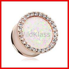 """Rose Gold Opal Multi-Gem Ear Gauge Plug 2g 0g 00g 7/16"""" 1/2"""" 9/16"""" 5/8"""" 3/4"""" 7/8"""" 1"""" Hollow Back Rose Gold Opal Plug Double Flare Glitter (26.99 USD) by WildKlassJewelry"""