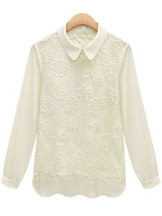Blusa gasa encaje solapa manga larga-Blanco 11.03