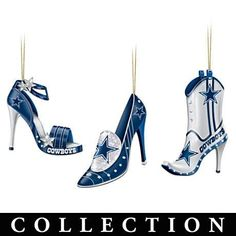 Dallas Cowboys High Heel Shoe Ornament Collection for my cowboys football tree - omg, I have died and gone to heaven. I WANT these - Amber Troy! Nfl Dallas Cowboys, Cowboys Football, Football Team, Stiletto Shoes, Shoes Heels, Christmas Shoes, Christmas Ornaments, Christmas Stuff, Merry Christmas