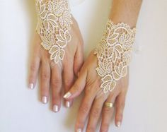 ivory caramel wedding gloves