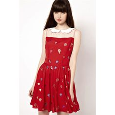 Red Peter Pan Collar Mesh Splicing Balloon Print Dress ($28) ❤ liked on Polyvore featuring dresses, red, no sleeve dress, sleeveless dress, peter pan dress, mixed print dress and pattern dress