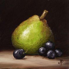 Little Pear with Grapes, J Palmer Original oil still life mini Art