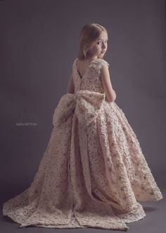 Pale blush rosette dress - SS2015 Collection Anna Triant Couture - FabTutus - sequin rosette flower girl dress - gold - train - large bow