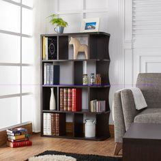 Contemporary Home Bookcase Office Storage Display Brown Modern Bookshelves Work  #Contemporary #bookstorage #bookcase #officefurniture #homedecor #woodBookcase