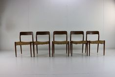 Danish Teak Model 75 Dining Chairs by Niels Moller, 1954, Set of 5 for sale at Pamono