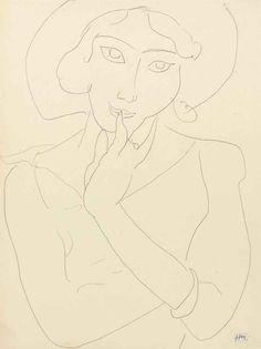 Henri Matisse (1869-1954)  Tête de femme au chapeau