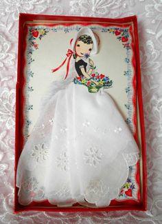 Vintage White Embroidered Lady Girl VALENTINE Handkerchief RED HEARTS Card Treasure Masters Keepsake Hankie Switzerland Hanky Swiss Unused. $35.00, via Etsy.
