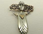 Angel Olivia Offers Her Love And Friendship - Upcycled Sterling, Silver Plated Silverware, Brass, And PMC - Art Jewelry Pendant