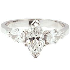 Marquise Ring Settings without Stones   Vintage Marquise Cut Diamond Solitaire Ring with Pear Cut Side Stones ...