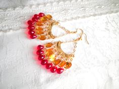 Yellow Earrings With Transparent Red Glass Drops. by SaveTheNature, $15.00