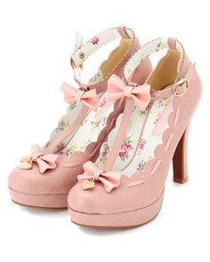 Maybe not for everyone, but I think they are sweet. Pink Mary Jane shoes with bows and heart charms.