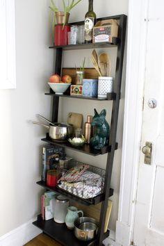 ladder shelf in kitchen