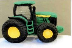 Tractors 466122630166440257 - John Deere tractor pattern (pdf) Source by catherinetrotin Crochet Car, Crochet Dinosaur, Crochet Unicorn, Crochet Food, Crochet For Boys, Crochet Bunny, Cute Crochet, Crochet Animals, Crochet Crafts