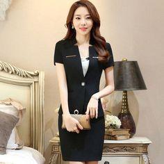 Summer career women skirt suit fashion business short-sleeve slim blazer and skirt set ladies plus size work wear office uniform