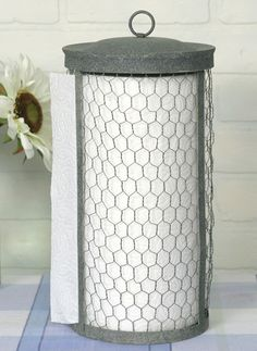 Chicken Wire Farmhouse Paper Towel Holder - From the Home Decor Discovery Community at www.DecoandBloom.com