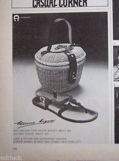 1968 Vintage Etienne Aigner Wicker Basket Handbag Purse Womens Sandal Ad | eBay