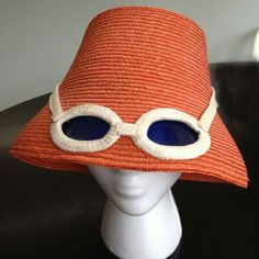 Vintage Straw Hat Italy Built In Sunglasses f4abb2c3dab5