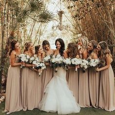 The bride tribe ✨ Really a fan of these taupe bridesmaid dresses paired with the bride's gorgeous gown ✨ Tag someone you know who would love this! is part of Neutral bridesmaid dresses - Beige Bridesmaids, Taupe Bridesmaid Dresses, Wedding Dresses, Fall Wedding Bridesmaids, Bridesmaid Dress Colors, Perfect Wedding, Dream Wedding, Taupe Wedding, Champagne Wedding Colors