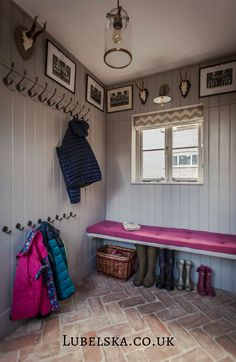 Inspiring Wonderful Inspiration With 25 Boot Rooms Design and Mudrooms Idea Some people might sound familiar with the boot room and mudroom. Boot room and mudroom is a storage that can not be separated. And a separate bedroom . Porch Storage, Hallway Storage, Boot Room Storage, Coat Hooks Hallway, Brick Tiles, Brick Flooring, Flooring Ideas, French Door Decor, Herringbone Tile Pattern