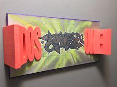 "10""x20"" canvas w/3D printed graffiti sculpture   #wallnutscrew #wgf #tacrew #deepinsidethemind #urbanbranding #3dprinting #3dprintedgrafounder #3dprintedgraffiti   3d printed graffiti  #3Dart #absfilament #wetonwet 3dprintedgraffiti   #grafpioneer #blickrylics #molotowpaint #molotow #hobbyist #figurines #sculpture #urbansculptures"