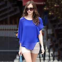Women's+White/Black/Blue+Casual+Chiffon+Blouse,+Short+Sleeve+–+AUD+$+9.50