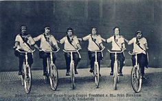A female artistic-cycling group, possibly from Frankfurt am Main - early 1900s
