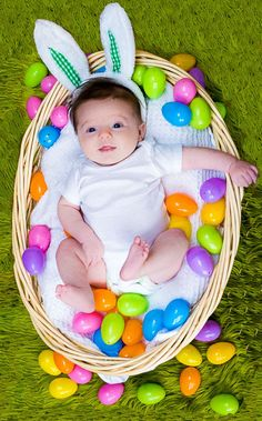 Walker 6 months baby boy easter basket little hat pictures babys first easter pic negle Images